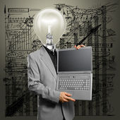 Lamp Head Businessman with Laptop — Stock Photo