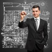 Affärsman skriva något — Stockfoto