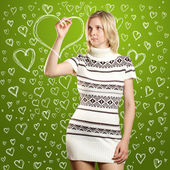 Woman Drawing Heart Shapes — Stock Photo