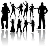Dancing and Singing 's Silhouettes — Stock Vector