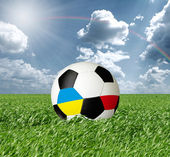 Soccer ball With Ukraine and Poland Flags — Stock Photo