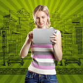 Businesswoman With Touch Pad — Stock Photo