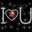 Vector de stock : Diamond Words I Love You