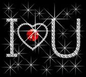 Diamond slova miluji tě — Stock vektor