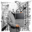 Lamp Head Businessman with Laptop — Stock Photo #8969274