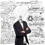 Lamp Head Businessman — Stock Photo #9067600