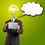 empresario cabeza lámpara con pantalla táctil — Foto de Stock