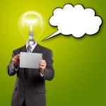 lamp hoofd zakenman met touchpad — Stockfoto