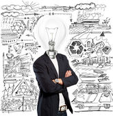 Lamp Head Businessman — Stock Photo