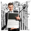 Businessman With Open Laptop In His Hands — Stock Photo #9159602