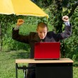 Businessman Working Outdoors — Stock Photo #9291660