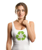 Woman With Recycling Symbol Looking on Camera — Stock Photo