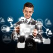 Businessman With I Pad in Social Network — Stock Photo