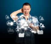 Man With I Pad in Social Network — Stock Photo