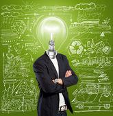 Lampa hlava podnikatel — Stock fotografie