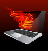 Burning laptop — Stock Vector