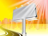Billboard with road and city — Cтоковый вектор