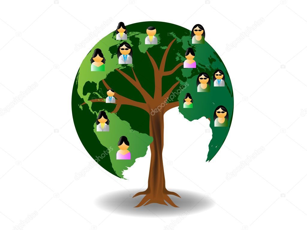World tree with icons — Stock Vector #8609715