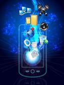мультимедийный телефон и значки — Cтоковый вектор