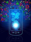 Ícones e telefone multimídia — Vetor de Stock