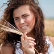 Perfect woman in wheat field on summer day. Picnic. — Stock Photo