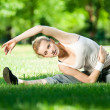 Young woman doing yoga exercise — Stock Photo #8461098