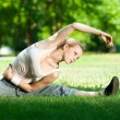 Young woman doing yoga exercise — Stock Photo #8461807