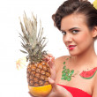 Close up of young woman that drink pineapple & grapefruit juice. — Stock Photo #8463462