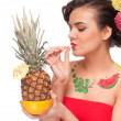 Close up of young woman that drink pineapple & grapefruit juice. — Stock Photo #8463465
