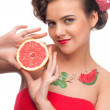 Stock Photo: Close up portrait of beauty woman with grapefruit