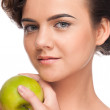 Closeup portrait of beauty woman with green apple — Stock Photo #8463479