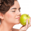 Closeup portrait of beauty woman with green apple — Stock Photo #8463525