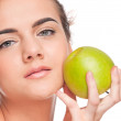 Closeup portrait of beauty woman with green apple — Stock Photo