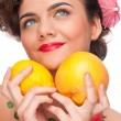 Close up portrait of beauty woman with lemon and grapefruit — Stock Photo
