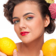 Close up portrait of beauty woman with lemon and grapefruit — Stock Photo #8463615