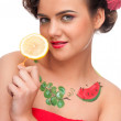 Close up portrait of young emotional woman with lemon canape — Stock Photo #8463621