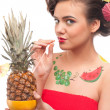 Close up of young woman that drink pineapple & grapefruit juice. — Stock Photo #8463626
