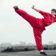 Wushoo man in red practice martial art — Stock Photo #8466117