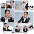 Collage of business woman working in office  — Stock Photo
