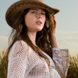 Slavonic girl in cowboy clothes — Stock Photo #8468273