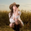 Beautiful slavonic girl in cowboy clothes — Stock Photo #8468306