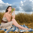 Stock Photo: Beautiful slavonic girl on picnic