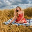 Beautiful slavonic girl on picnic — Stock Photo #8468358