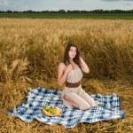 Beautiful slavonic girl on picnic — Stock Photo #8468368
