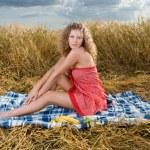 Beautiful slavonic girl on picnic — Stock Photo #8468376