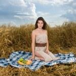 Beautiful slavonic girl on picnic — Stock Photo #8468386