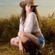 Beautiful slavonic girl in cowboy clothes — Stock Photo #8468425