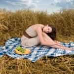 Beautiful slavonic girl on picnic — Stock Photo #8468427