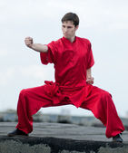 Wushoo uomo in arte marziale pratica rosso — Foto Stock