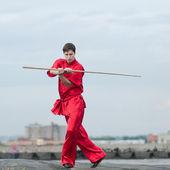 Wushoo homem na arte marcial de treino vermelho — Fotografia Stock